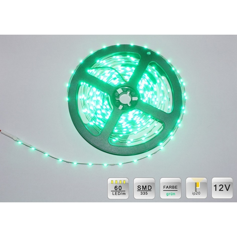 LED SMD 335 Streifen 5m. 60 LEDs/m Grün ca.400 Lumen